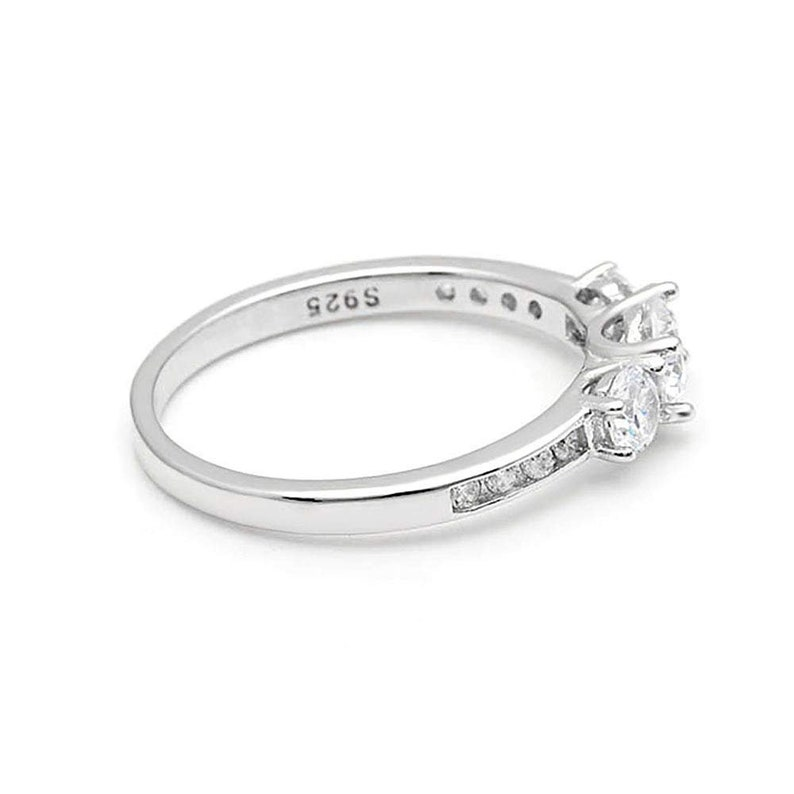 Ginger Lyne Collection Anastasia 925 Sterling Silver 3 Stone Engagement Wedding Bridal Ring Cubic Zirconia