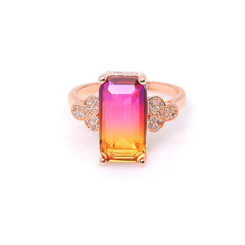 Ginger Lyne Collection Iris Emerald Cut Rainbow Mystic Rose Gold Plated from the