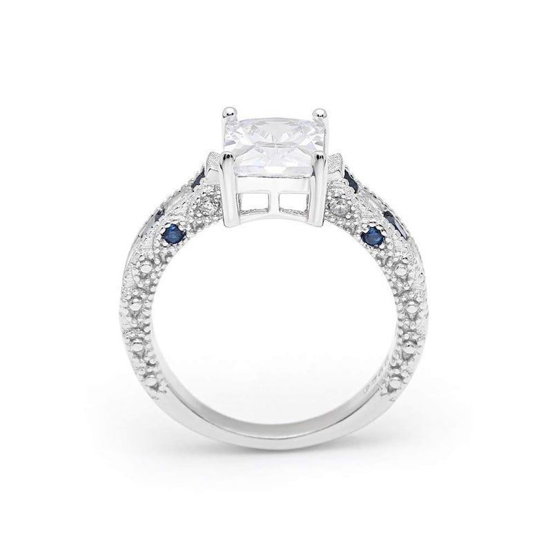 Ginger Lyne Collection Katharina Sterling Silver 2.5CT Emerald Cut with Blue Accent CZ Engagement Wedding Bridal Ring
