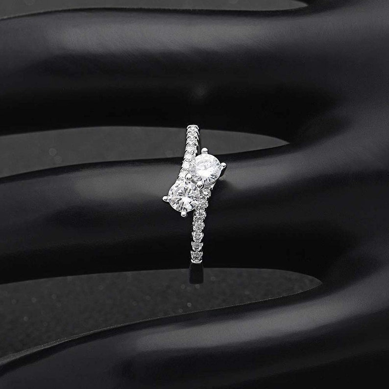 Ginger Lyne Collection Tatiana 925 Sterling Silver 2 Stone Style Engagement Wedding Bridal Ring Cubic Zirconia