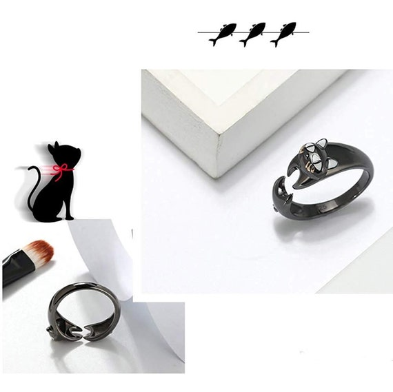 Ginger Lyne Collection Ginny Cat Kitty Wrap Black Over 925 Sterling Silver Ring