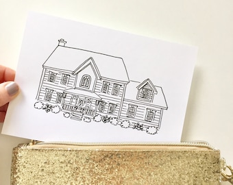 Mini Custom House Drawing (Black and White), Custom House Portrait, Home Drawing, Housewarming Gift, House Drawing from Photo