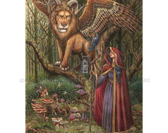 """FANTASY ART, Pop Surrealism, Lowbrow, Sorceress, Lion-The Alliance Came Unlooked For-PRINT-12""""x16""""by Fian Arroyo-Unframed wall decor"""