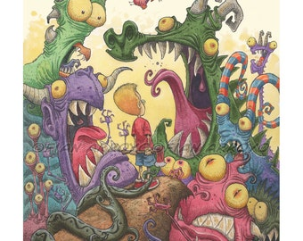 """MONSTERS Giclée Fine Art PRINT from Fantasy Watercolor and ink Painting -Careful With That Axe Eugene-SIGNED Titled 11""""x14"""" by Fian Arroyo"""