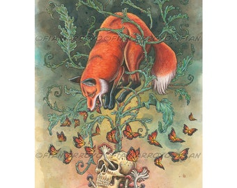 """Fantasy Art, POP SURREAL, Lowbrow, Angels Of Our Better Nature-Archival Signed, Titled Fox And Skull PRINT-12""""x16""""by Fian Arroyo-unframed"""