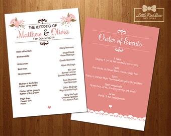 mason jar wedding program printable wedding party names and etsy