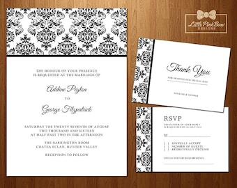 Black White Wedding Invitation, RSVP, Thank You Card Printable Set, Modern Wedding, Black & White Damask Wedding Invitation Set