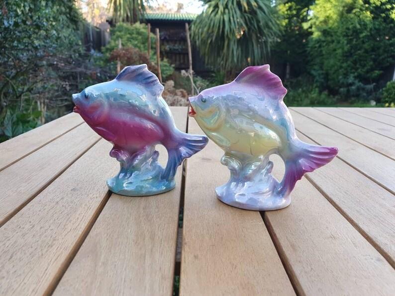 individualy available. Ceramic iridescent lustre fish figurine circa 1950-60