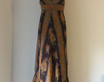 1970 Vintage Sherman of London Floral Maxi Dress