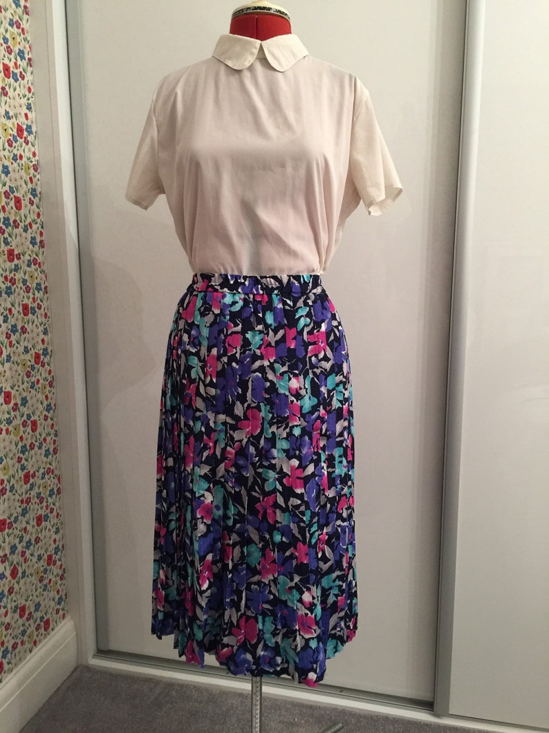 Very 1980/'s vintage pink purple and blue full length pleated skirt UK size 14 US size 12 by Lady Adler