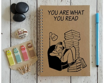 Reading Journal, Book Record, You Are What You Read, A5 Notebook, Book Journal, Reading Record Notebook, Book Diary, Journal For Read Books