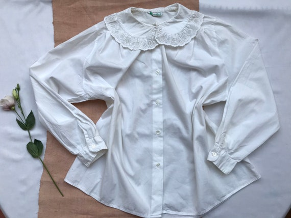 Vintage pure white cotton womens shirt blouse made