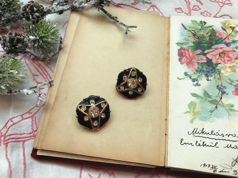 1980/'s vintage avant garde art deco black gold enamel clip on earrings with rhinestones geometric chic french fashion designer statement