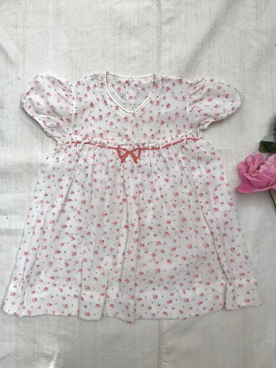 Sweet dainty vintage baby girl's silk georgette ch