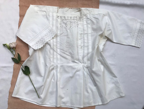 Antique as-is 1910s Hungarian peasant blouse top m