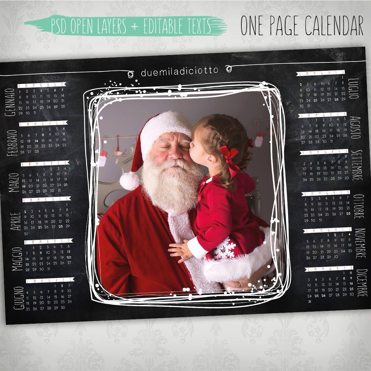 2018 una página calendario psd plantilla calendario foto una | Etsy