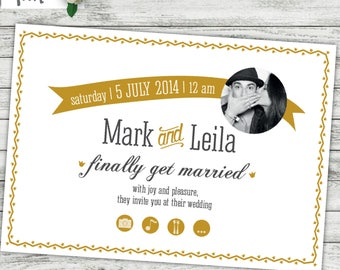 digital, photo wedding invitations, black and white photo wedding invites, photo face invites, mariage, Hochzeit, modern wedding invites