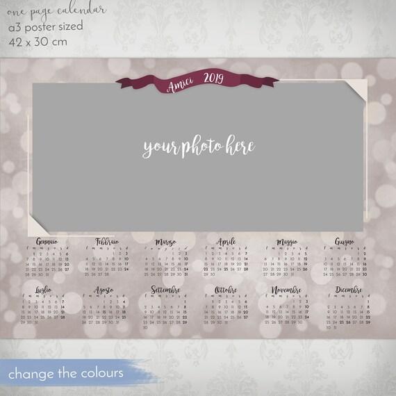 2019 Template Calendarphoto Calendar Photoshop Template Etsy