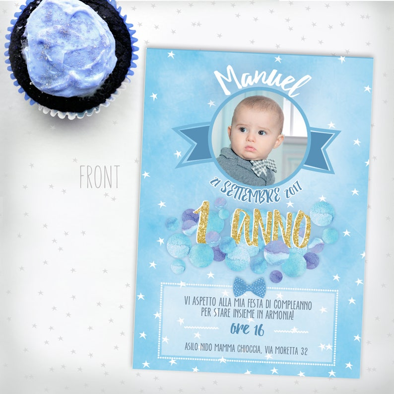 1 Year Birthday Card Boy Photo Invitation Bubbles