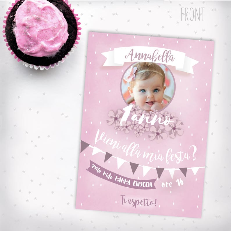 1 Year Birthday Card Boy Photo Invitation Bubbles