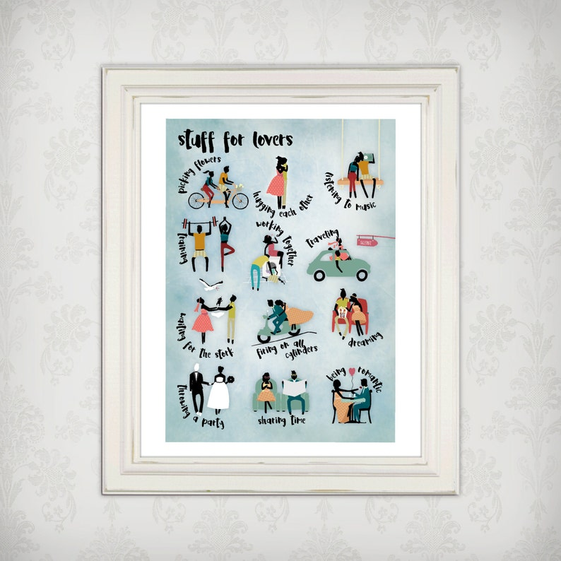 love rules stuff lovers do together affiche d/'amour love printable lovers kissing print love poster lovers daily life print