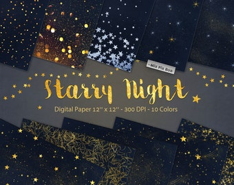 Starry Night Digital Paper Backgrounds, Star Night Sky Digital Paper, Gold Stars Scrapbook Paper, Space digital textures