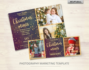 Christmas Mini Session Template_V2 - Photography Marketing Board - Facebook timeline, Christmas Minis - Photoshop Template