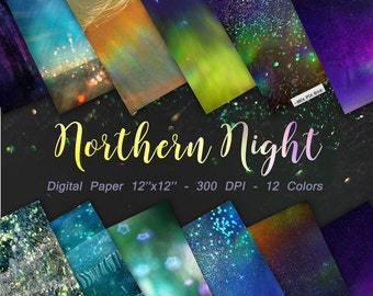 Northern Lights Digital Paper, Starry Night  Backgrounds, Star Night Sky Digital Paper, Space digital textures,  polar lights backgraund