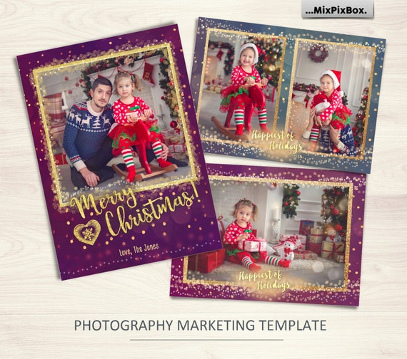 Christmas card template merry and bright photoshop template 5x7 il570xn m4hsunfo