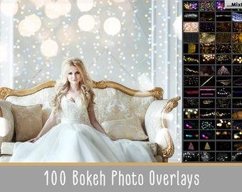 100 Bokeh lights Effect Photo Overlays, Gold, Photoshop, Overlays, Christmas lights, sparkles effect, Wedding Overlay, silver bokeh,light