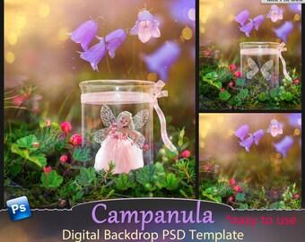 Photoshop Digital backdrop, template scene, Digital backgrounds, Fairy psd template, children's backdrop, PSD template for photographers