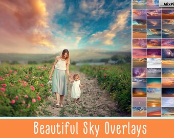 Sky Photo Overlays, sunset, clouds, photoshop, sunset, texture, dramatic,overlay, realistic, sky, nature sky, bundle, sky overlays
