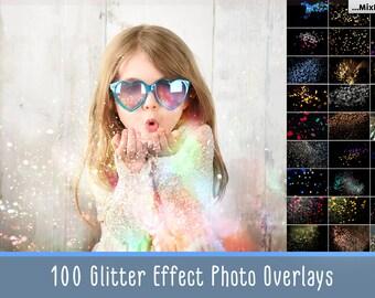 Glitter Effect Photo Overlays, Blowing Glitter Photoshop Overlays, Confetti Photo layer, fairy dust effect, glitter overlay, bokeh overlay