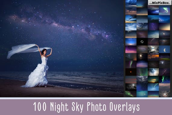100 Night Sky Overlay Add Starry Sky To Photo Moon Overlays Stars