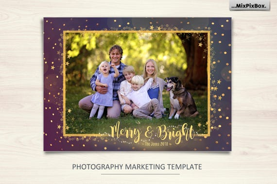 Christmas Card Template Merry And Bright Photoshop 5x7 Flat Gold