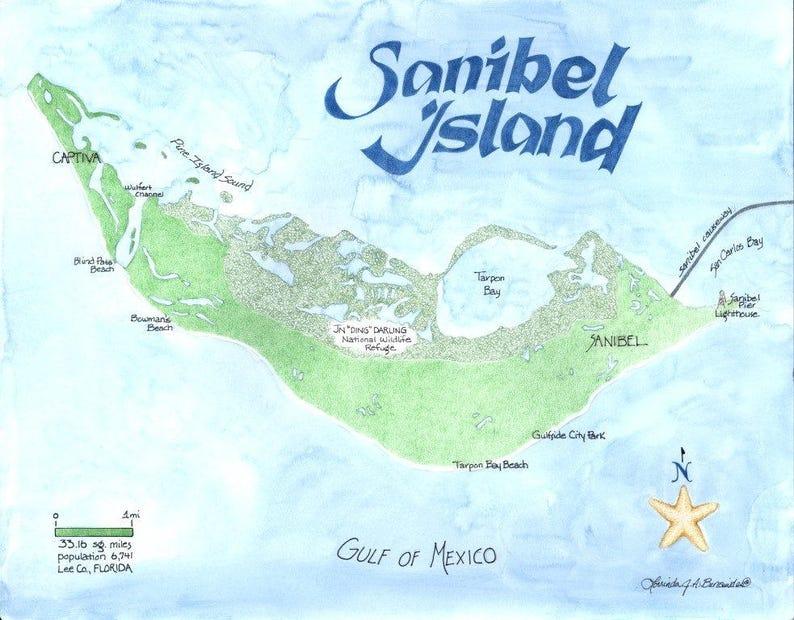 Map Of Sanibel Island Florida Topographic Print 11 X 14 Etsy