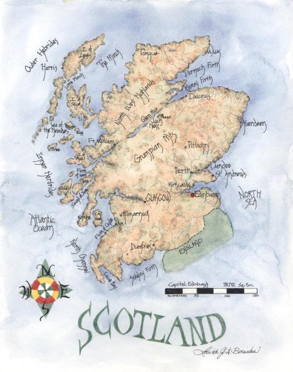 Scozia Cartina Dettagliata.Mappa Di Scozia Mappa Di Matita Colorata E Acquerello Arte Etsy