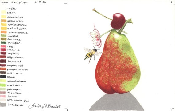 Poire Abeille Fleur Cerisier Photo Réaliste Dessin Art Illustration Impression Sur Stock D Archives De La Couverture Fruits Crayons De