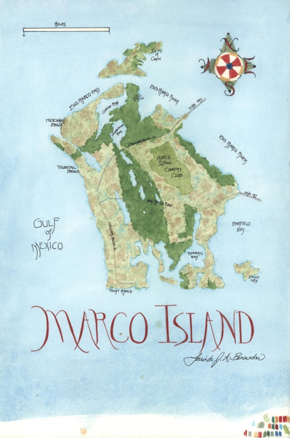 Gulf Of Mexico Map Of Marco Island Florida Watercolor Etsy