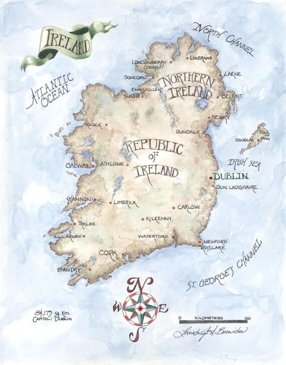 Mapa de Irlanda acuarela lápiz pintura dibujo