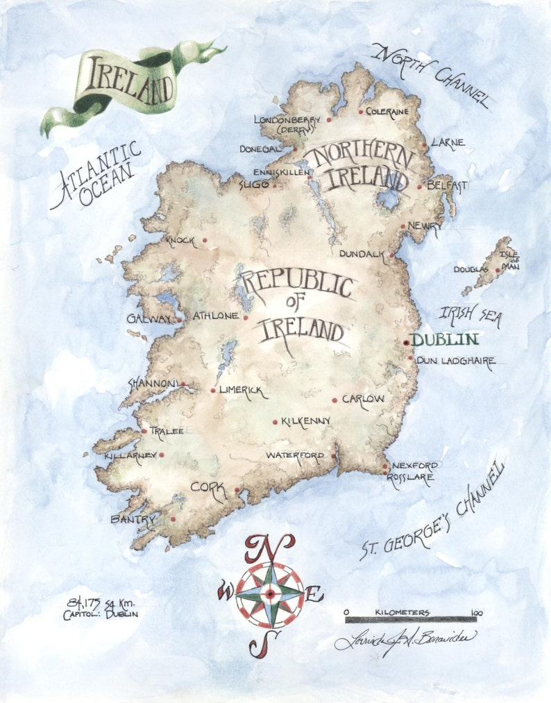 Carte Irlande Dessin.Carte De L Irlande Aquarelle Crayon Peinture Dessin Illustration Art De Couleur Impression Sur Papier D Archivage Carte Realiste De Photo 11