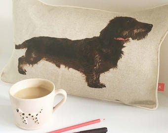Wire hair Dachshund cushion, rough hair Dachshund pillow, dog lover gift, handmade in UK, sausage dog cushion, FREE delivery in UK