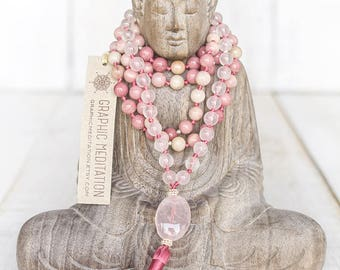 Rose quartz mala beads 108 Rhodonite necklace Yoga mala necklace Healing crystals and stones Rose quartz necklace Heart chakra crystal mala