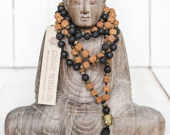Lava mala necklace, Rudraksha mala beads 108, Yoga mala lava beads, Buddha necklace, Black tassel necklace, Buddhist prayer beads