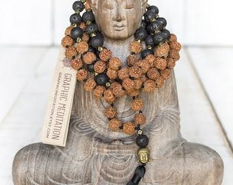 Lava stone necklace Rudraksha mala necklace Mala beads 108 Knotted wrist mala Black lava necklace Lava rock necklace Long Buddhist necklace