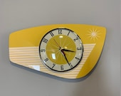 Handmade Mellow Yellow Formica Wall Clock from Royale - Midcentury French Atomic Retro style with Starburst Formica Design