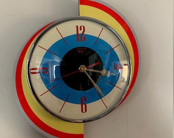 Colour Etched Spinning Meteor Formica Caravan Wall Clock from Royale - Midcentury Atomic Jetsons Retro style.