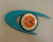 Colour Etched Lucite Formica Wall Clock from Royale - Midcentury Atomic Boomerang Retro style in Turquoise Tangerine