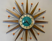 21 inch Hand Made Mid Century style Starburst Clock by Royale - Welby style Medium Teak Rays with a Turquoise 1950 39 s Dial