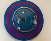 Handmade 1970 39 s style Teal Purple Formica Wall Clock with a Funky Segment Face from Royale